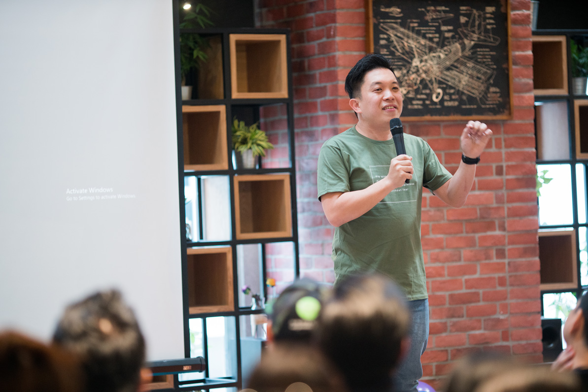 """Yong, CEO of CO3 giving a speech on the importance of """"Heartware"""""""